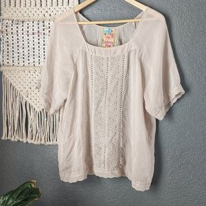 Johnny Was Eyelet Embroidered Blouse